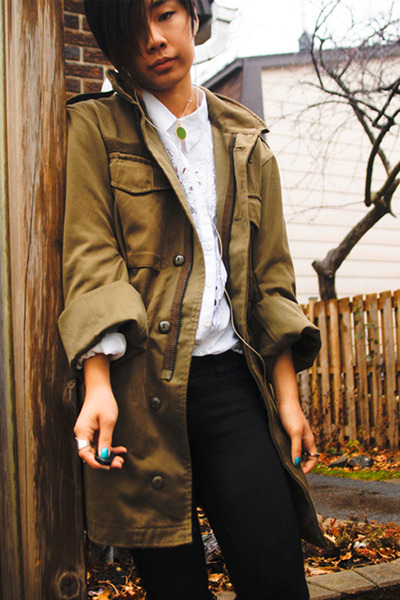 olive green Urban Outfitters coat - white thrifted shirt - black Forever21 jeans