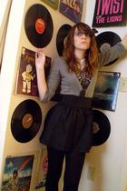 gray Charlotte Russe cardigan - black Miley Cyrus & Max Azria skirt - black Geor