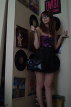purple Charlotte Russe top - black Miley Cyrus & Max Azria skirt - blue thrifted