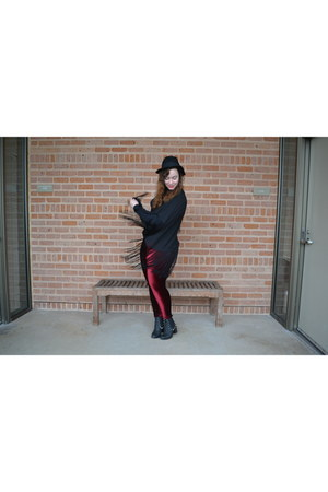 black TBA Shoes boots - black H&M hat - ruby red Black Milk Clothing leggings