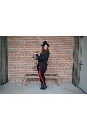 black TBA Shoes boots - black H&M hat - ruby red Black Milk Clothing leggings