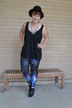 blue galaxy Black Milk leggings - black asos boots - black Forever 21 top