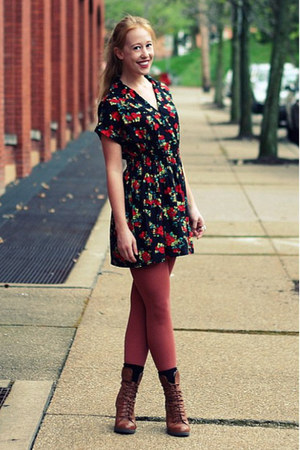 ruby red rose Forever 21 dress - tawny Target boots