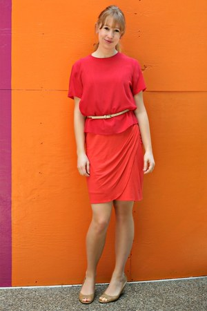 red silk vintage top - carrot orange Target dress - peach belt