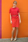Carrot-orange-target-dress-peach-belt-red-silk-vintage-top