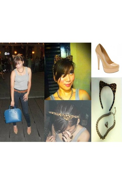 H&M accessories - navy blue Mango jeans - gold chain Topshop necklace