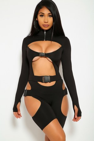 black cut out AmiClubWear romper