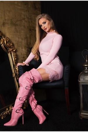 bubble gum AmiClubWear boots - light pink AmiClubWear dress