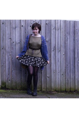 bronze vintage top - black Primark dress - blue vintage cardigan