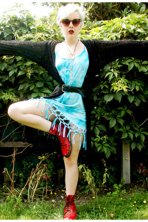 sky blue tie dye hand me down dress - black crochet hand me down cardigan