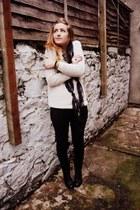 eggshell waffle knit Gap jumper - black Clarks boots