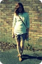nude Topshop boots - tawny chanel vintage bag - dark khaki whistles shorts - neu