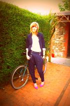 gold new look hat - black Primark jacket - blue Topshop pants - pink Topshop sho