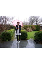 pink new look accessories - black Primark blazer - gray H&M dress - brown Reiss