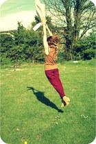 tan Topshop boots - beige Topman sweater - crimson Topshop pants - tawny Topshop