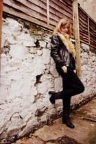 black leather Clarks boots - black leather vintage jacket