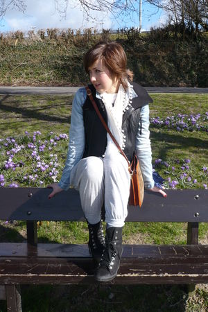 blue H&M jacket - black asos vest - gray Primark pants - black new look boots -