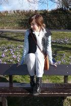 blue H&M jacket - black asos vest - gray Primark pants - black new look boots -