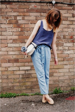 ivory vintage bag - eggshell Primark heels - light blue chambray warehouse pants