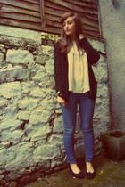 blue Topshop jeans - black Primark cardigan - eggshell Quiksilver blouse