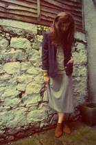 navy vintage jacket - bronze Jane Norman boots - heather gray midi Gap dress