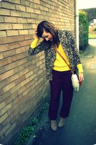 light brown River Island blazer - black vintage Hermes bag - maroon Topshop pant