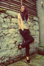 black vintage pants - ivory Zoe Karssen t-shirt - black Topshop loafers
