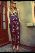 navy bird print Matalan romper - black Primark sunglasses - brown vintage pumps