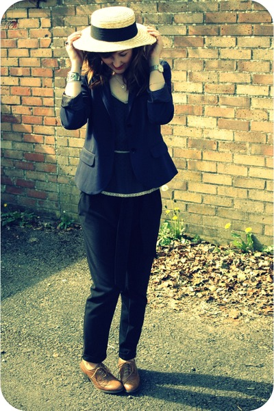 light yellow boater Primark hat - navy Gap blazer - brown brogues Primark loafer