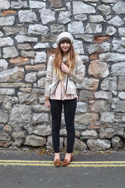 beige cashmere Crumpet jacket - black Gap jeans - brown Topshop loafers