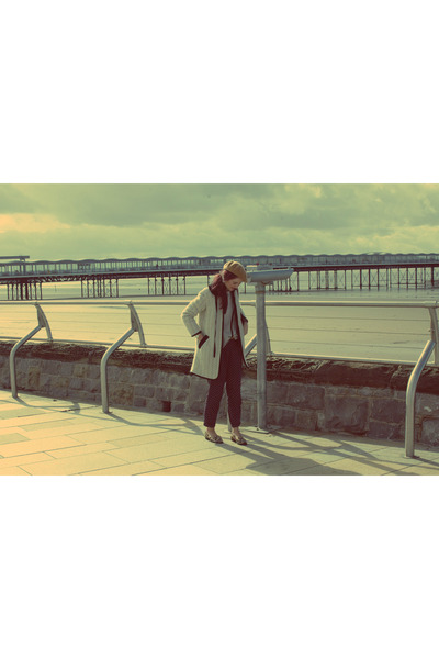 ivory Topshop coat - tawny beret H&M hat - navy polka dot Primark pants