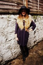 navy H&M dress - black Clarks boots - black Primark hat