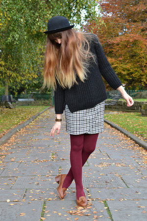 brown Brag Vintage skirt - dark brown Topshop shoes - maroon Primark tights