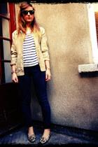 blue striped Monki top - dark gray skinny ASOS White Lable jeans
