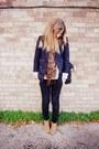 Bronze-ankle-clarks-boots-navy-vintage-jacket-brown-leopard-h-m-scarf