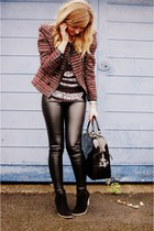 black faux leather Topshop pants - black via spartoo Les Tropeziennes boots