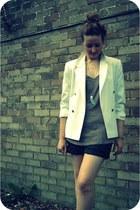 black Les Tropeziennes boots - cream vintage blazer - black leather vintage shor