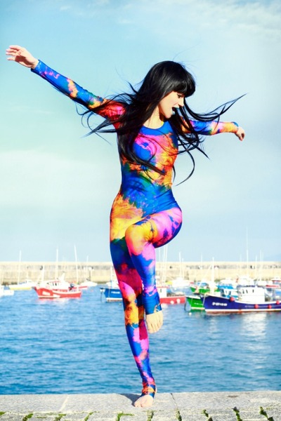 black wig wonderland wigs hat - blue splash unitard We Love Colors bodysuit