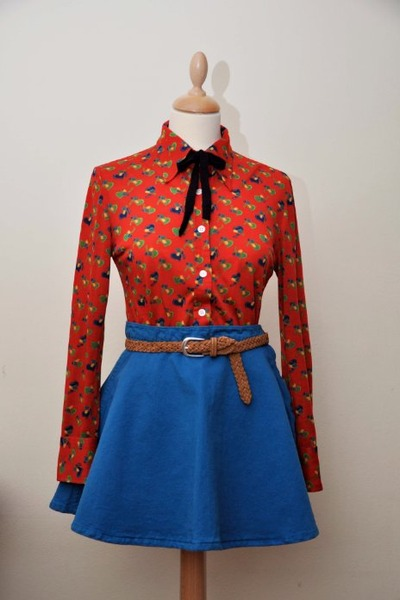 ruby red vintage shirt - blue American Apparel skirt