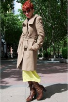 dark brown Vogue boots - yellow jil sander DIY dress - tan Mango coat