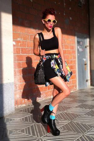 chartreuse AX Paris blazer - black vintage shorts - yellow Chicwish sunglasses