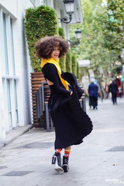 black asos dress - yellow asos sweater - black asos skirt