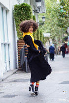 black asos dress - yellow asos sweater - black asos skirt