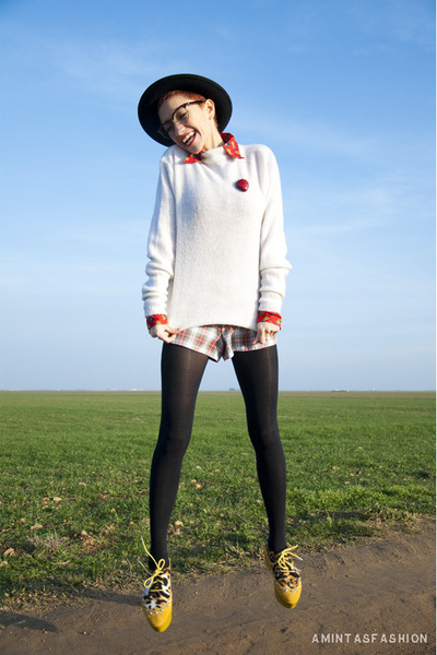 gold creepers flats - white handmade sweater - red vintage blouse