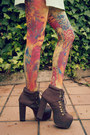 Burnt-orange-daddyz-tights-aquamarine-leather-vintage-dress