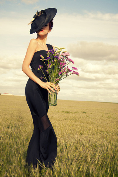 black OASAP dress - black Biliana Borissova hat - mustard Thallo ring