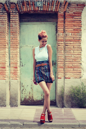 navy DIY skirt - carrot orange OASAP shoes - black chicnova shorts