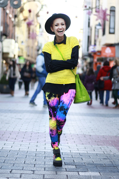 chartreuse asos boots - white Nifty thrifty coat - blue We Love Colors leggings