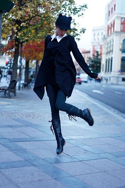 black romwe hat - black romwe blouse