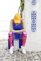 orange diy cap hat - hot pink TRASH leggings